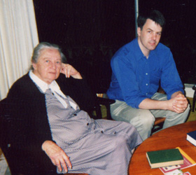 Dorothy Hewes with Scott Bultman in April 2002